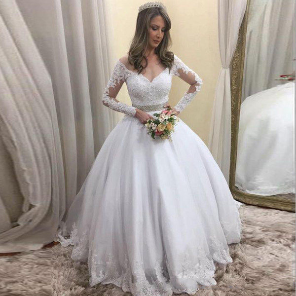 Long Sleeve Off-the Shoulder Wedding Dresses Bridal Gown A Line Floor Length Tull Lace Applique Wedding Guest Dress Party Gowns