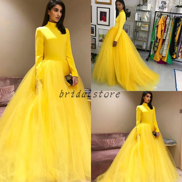 Bright Yellow Ball Gown Prom Dresses High Neck Long Sleeve Tulle Puffy Simple Long Formal Arabic Evening Gowns Special Occasion cheap 2019