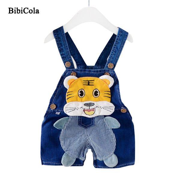 BiBiCola New Spring Children Boys Jeans Suspender Trousers Cute Cartoon Tigerkin 2018 Summer Baby Boys Overalls Children Pants