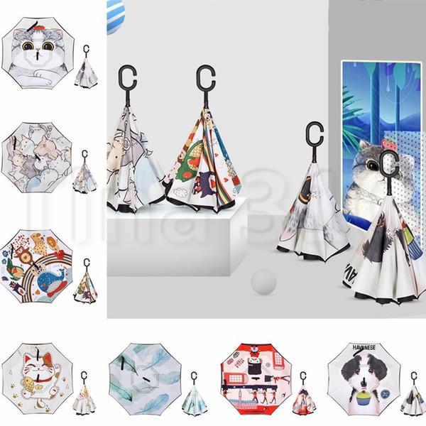 Paraguas Inverso de dibujos animados Manual Paraguas Inverso Invertido Totoro Anime Lluvia Mujeres Parasol Paraguas 4757