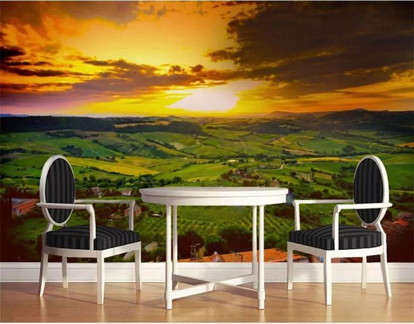 Custom Size 3D Photo Wallpaper Living Room Mural Sunset Country Landscape Oil Painting Mural Home Decor Creative Hotel Study Wall Paper 3 D