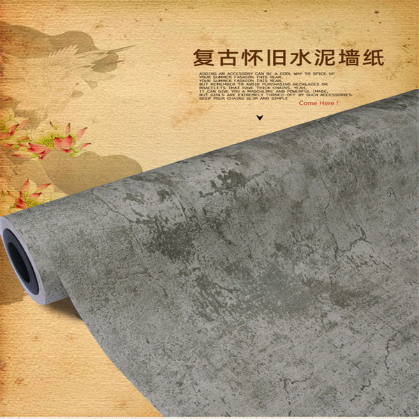 Hongtai PVC wallpaper self-adhesive gray cement wall industrial style wallpaper shop factory exhibition special decorative wallpaper