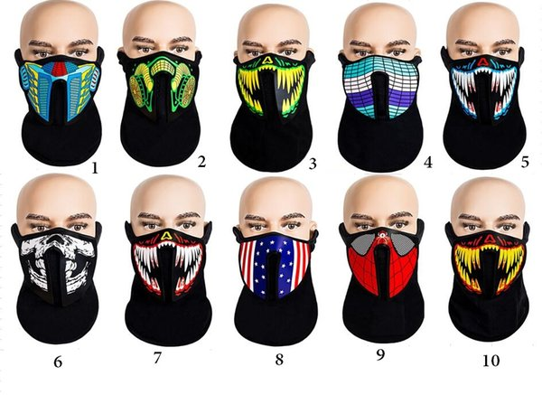 halloween masks LED Masks Clothing Big Terror Masks Cold Light Helmet Festival Party Glowing Dance Steady Voice activated Music Mask