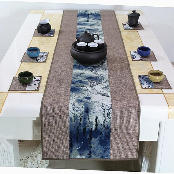 Dernier Patchwork style chinois Table Runner Rectangle Coton Lin Moderne Simple Salle À Manger Table Tissu Protection Tapis