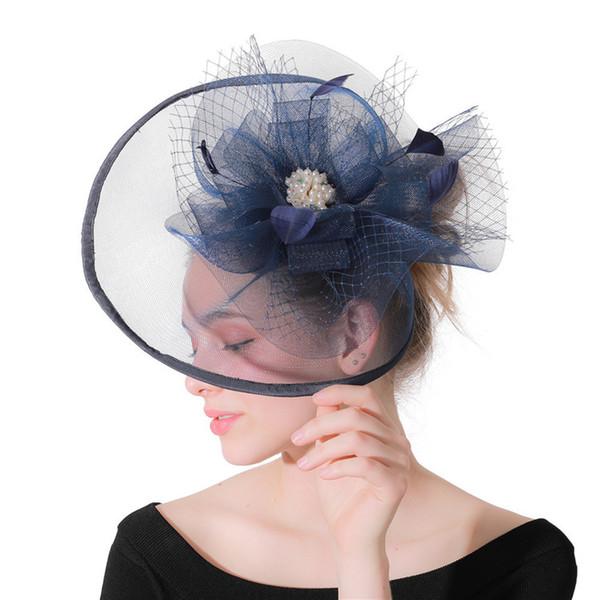 2019 nuova vendita calda blu navy retrò organza cappelli da sposa per le donne eleganti cappelli da sposa corse di cavalli banchetto di nozze accessori nuziali cpa1925