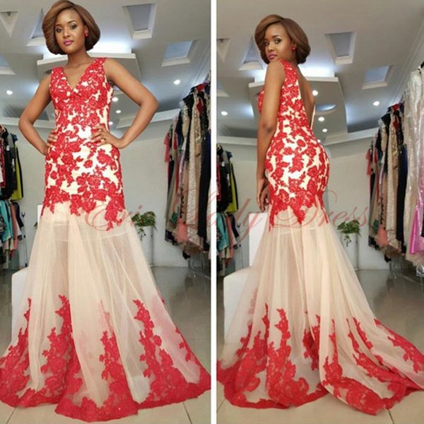 Vestidos de Fiesta Mermaid V-Neck Open-Back Lace Prom Dresses Long Red Nude Evening Gowns Cocktail Party Dress Formal Gown Robes de Soiree