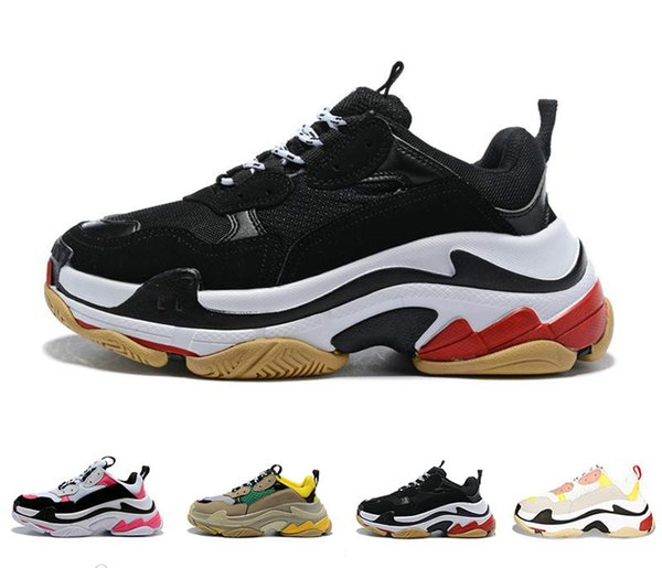 High quality designer Paris 17FW Triple s Sneakers for men women black red white green Casual Dad Shoes tennis luxury increasing shoes 36-45