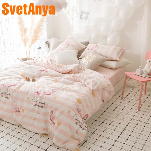 Svetanya Cotton Bedlinen Sheet Pillowcase Duvet Cover set Flamingo Pink series Bedding sets Single Queen Full Double Size