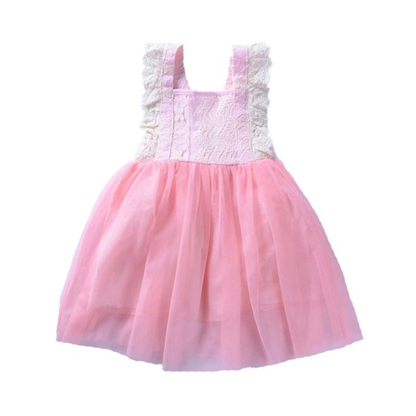 TELOTUNY Girls Dress Cotton Newborn Kids Baby Girls Fashion Summer Sleeveless Lace Mesh Puff Dress Party Princess Dresses MARC14
