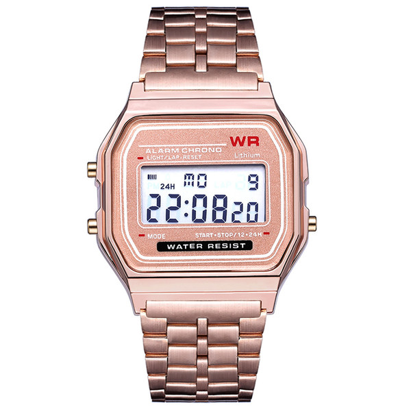 best selling Rose gold LED Digital watch F-91W Watches F91 Fashion -thin LED Change Watches WR Sport Watch for Kids adult