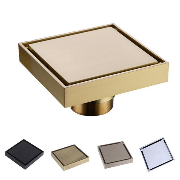 top popular 100% Brass Shower Drain Bathroom Floor Drain Tile Insert Square Anti-odor Floor Waste Grates 100X100 2021