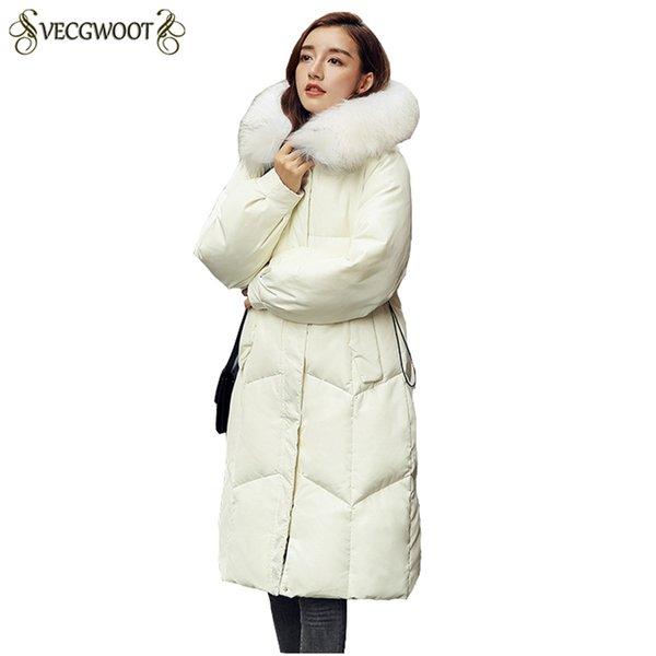 2018 Hiver Nouveau Femmes Down Jacket Mode Thicker chaud Femmes Parkas capuche Big col de fourrure dames vêtement mince manteau PR287