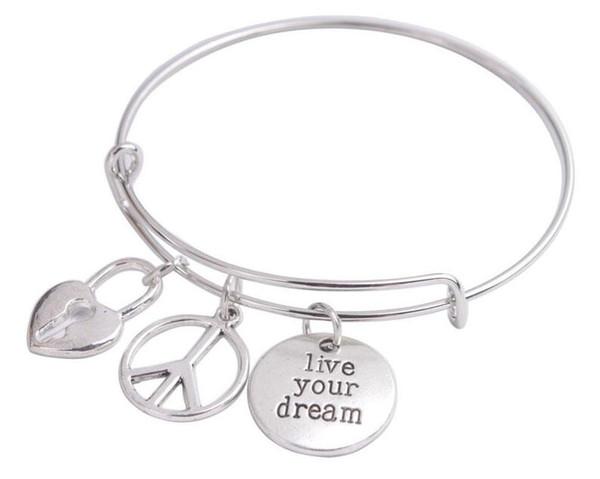 Expandable Tibetan Silver Bangle Live Your Dream Bangle Heart Lock Bracelet 20pcs Men Friendship Bracelet For Woman Jewelry Accessorie