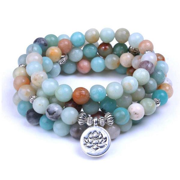Natural Stone Natural Stone Amazonite Mala Bracelet Lotus Bracelets Men Women Unisex 108 Prayer Beads Necklace Yoga Healing dropshipping
