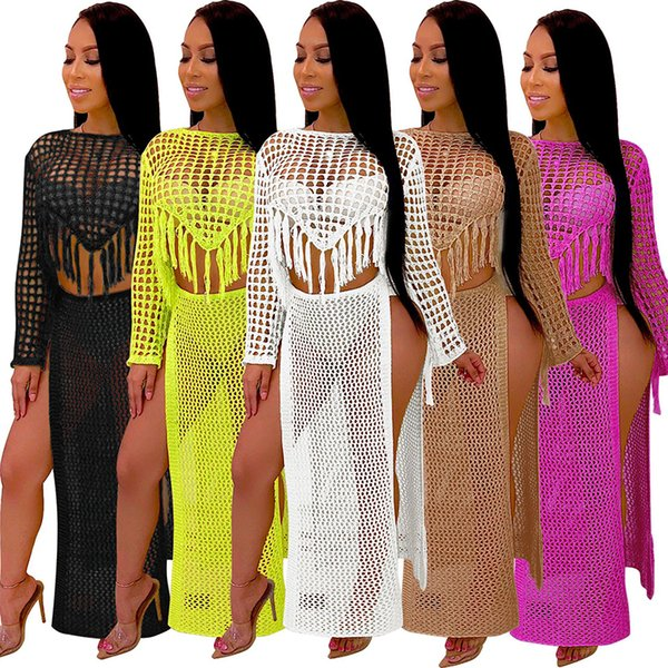 Tassels Plaid Sexy Two Piece Set hanmade beach dress + High Side Split Long Skirts Hollow Out See Through Suit
