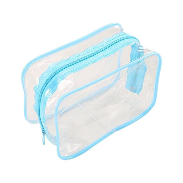 VSEN Hot PVC Clear Pouch Travel Bathing Toiletry Zipper Cosmetic Bag, Blue S