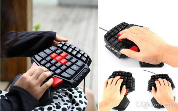 Pop Delux T9u Einhand-Tastatur mit Kabel 41 Standardtasten Einhand-Tastatur mit LED-Hintergrundbeleuchtung Für Dota 2 Game Player Pc