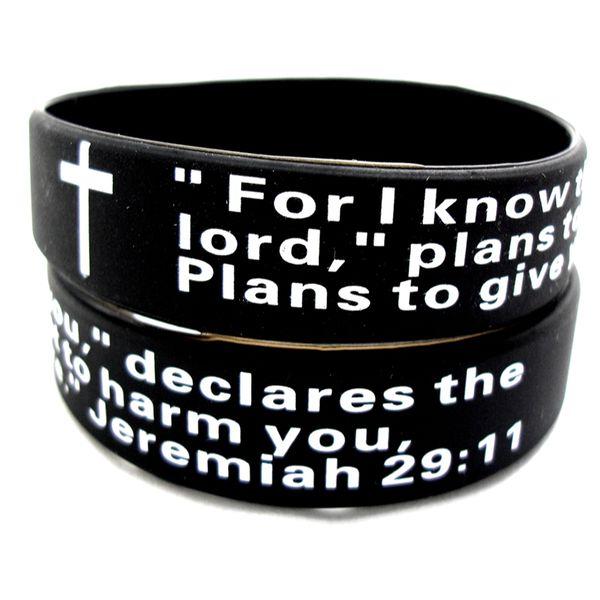 Wholesale 25Pcs Jeremiah 2911 bible Prayer christian Black wristbands bracelets Verse Band Gifts present