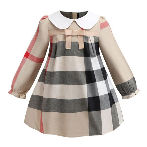 Nouveau Printemps À Manches Longues Vêtements Pour Enfants Mode Motif Treillis Magnifique robe de soirée entre filles avec un arc et un col