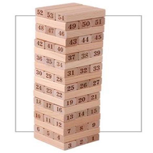 54 PCS En Bois Empilable Conseil Math Jeu Jeu Tumble Tower Building Building Fun Funny Nouveauté Intéressant Jouets Pour Enfants Cadeau D'anniversaire