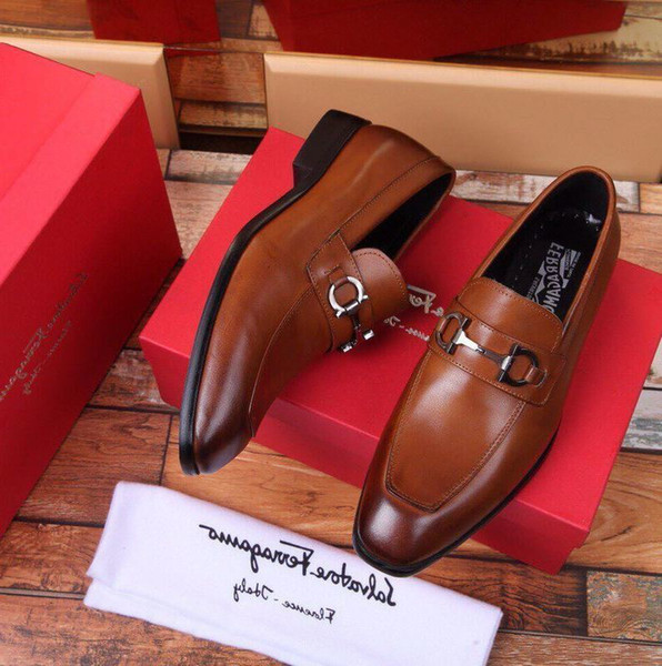 Duping520 High-end 2019 qualidade sapatos de couro marrom Men Dress Shoes Mocassins Mocassins Lace Ups Correias Monk Boots Drivers Real couro