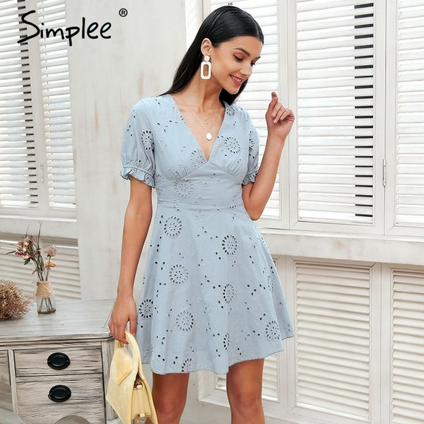 Simplee Hollow Out Embroidery White Dress Women V Neck Streetwear Causal Dress 2018 Summer Style Short Dress Cotton Vestidos T190829