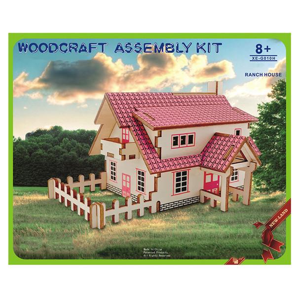 DIY modelo 3D casa juguete conjunto casa romántica madera rompecabezas educativo juguete modelo construir madera rompecabezas 3D para niños y adultos