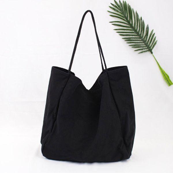 Korean version of pure color large capacity canvas bag fashion forest literature and art single shoulder bag simple washcloth ba