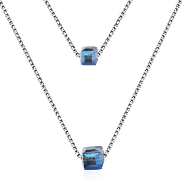 MEEKCAT 925 Sterling Silver Square Cube Blue/Pink Crystal Choker Statement Necklace For Women Double Layer Pendants & Necklaces