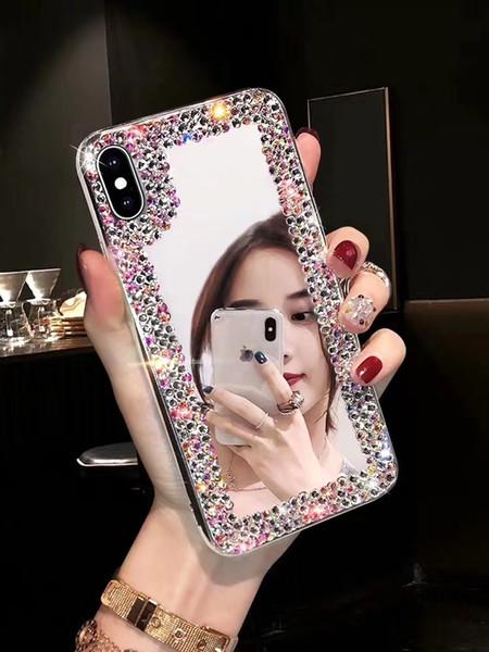 Необычные простой горный хрусталь сверкающих телефон чехол для iPhone X XS MAX XR зеркало прозрачная крышка для iPhone 6 6s 6plus 7 7plus 8 8plus