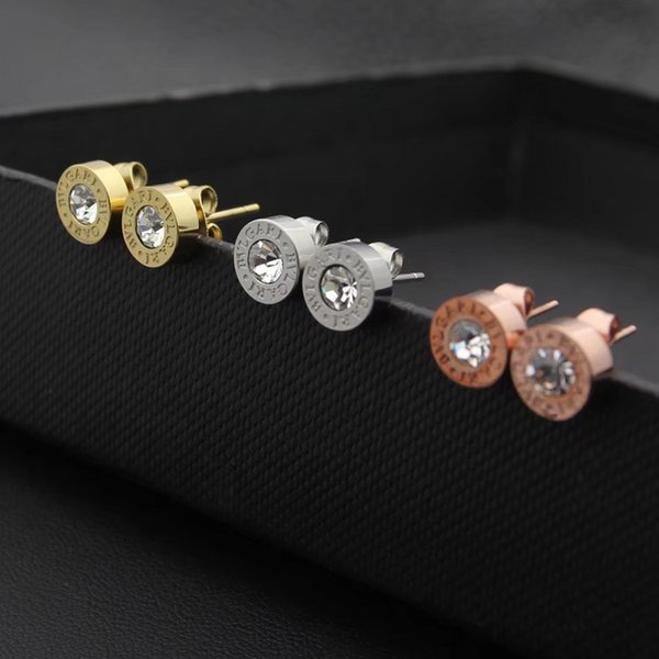 2019 New Fashion jewelry famous brand stainless steel Wholesale prices! HOT! 18K letter A B C Gold Silver rose diamond Stud Earrings men