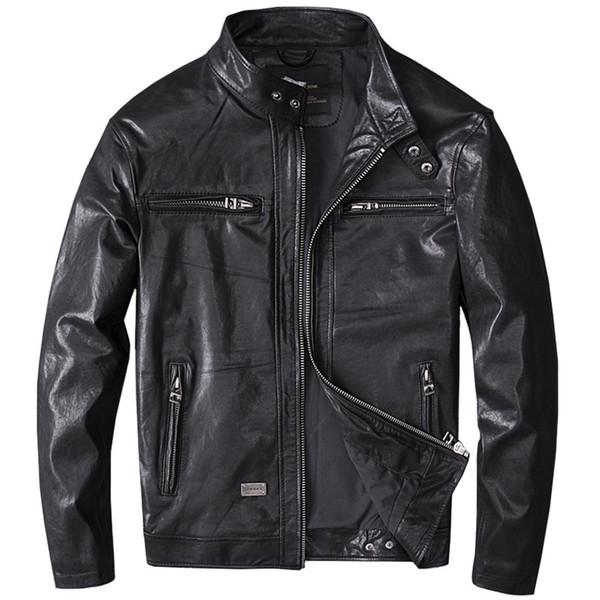 Primavera Hombres Negro Abrigos de cuero genuino Chaqueta de moto Real Primera capa Piel de oveja 4XL Nueva ropa Chaqueta de bombardero masculino