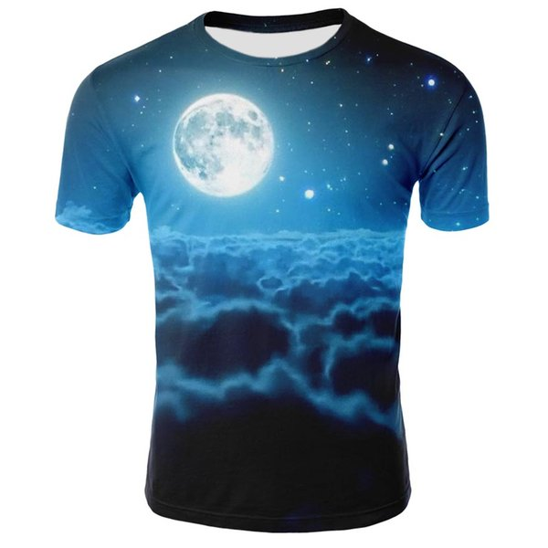2019 Summer Children Fashion Space Galaxy T-shirt Boy/Girl 3d T shirt Print Moon Whirlpool Cloud Tshirt Kids Casual Tops 12-20Y
