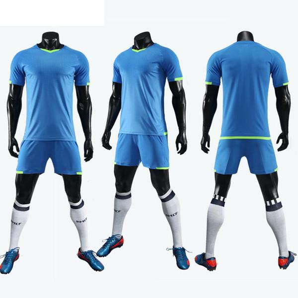 2019 Nuevo estilo Hombres Niños Adultos Jersey de fútbol Tamaño personalizado M-3XL Llanura de fútbol Jersey transpirable Light Soccer Kits Set