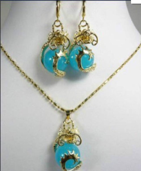 ювелирные изделия горячие продать новый-shippinggold пластины дракон нефрит ожерелье серьги