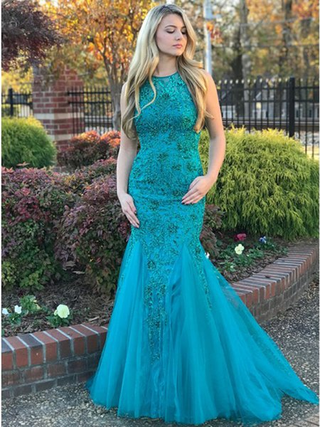 Elegant Mermaid Long Prom Dresses 2019 Turquoise Lace Beads Ruffles Formal Dress Plus Size Halter Evening Gowns DP0210