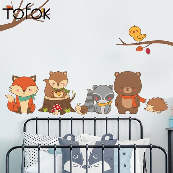 Tofok Animais Da Floresta Dos Desenhos Animados Adesivo de Parede Para Quarto de Crianças Berçário Esquilo Raposa Decalque Da Parede Removível Vinil Arte Mural DIY Decoração Da Sua Casa