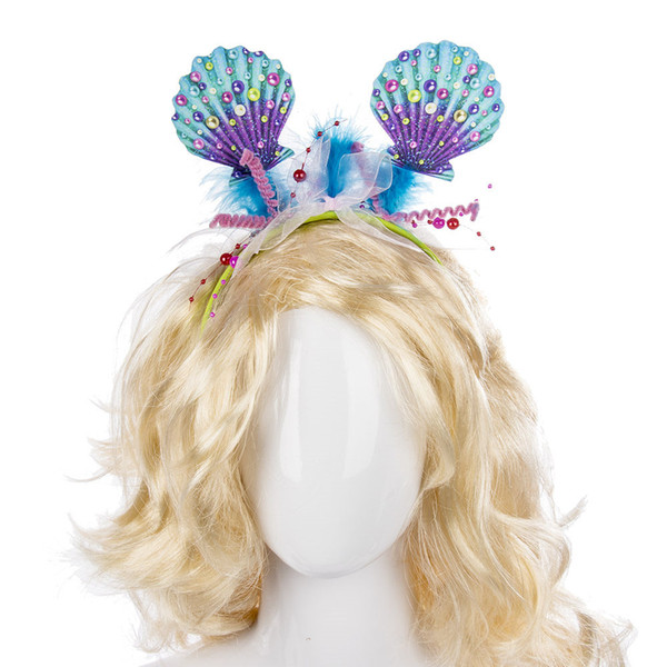 Free Shipping Cospty Carnival Cosplay Costume Headdress Hair Clasp Decoration Accessory Plastic Fabric Pretty Colorful Shell Headband