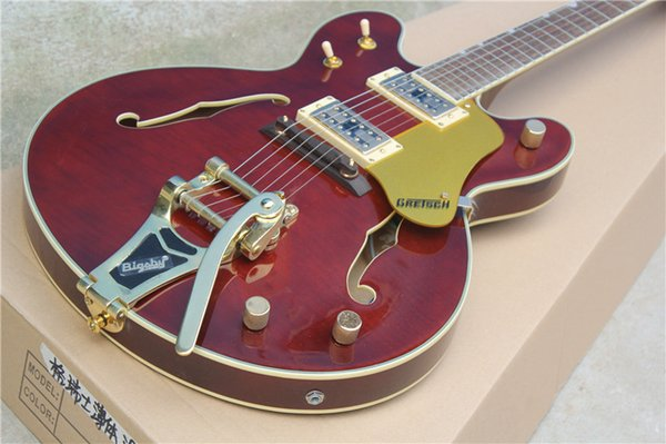 G5422T hueco doble f agujero rocker cuerpo delgado guitarra eléctrica tigre grano arce chapa rojo vino