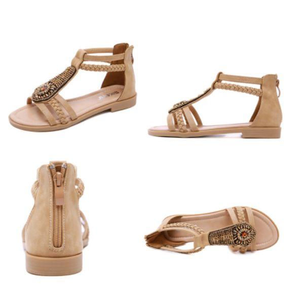 Moda nuevas sandalias mujer verano plana cabeza redonda zapatos de mujer viento nacional bohemio cómodo sandalias de mujer salvaje