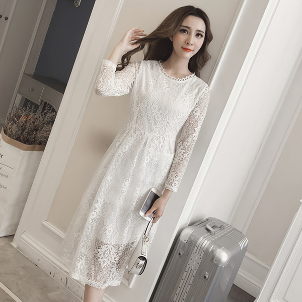 Women Race Dress 2019 Spring Summer Fashion Female White Elegant Hollow Out  Long Sleeve Slim A Line Mesh Casual Party Dress Lady Evening Dresses Plus  ...