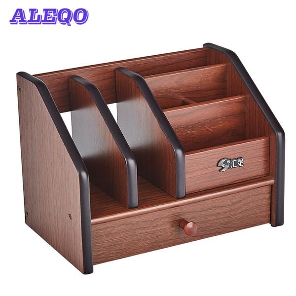 multifunctional Wooden Desktop Organizer Storage Box Pen Pencil Box Jewelry Makeup Holder Stationery Brown Office storage
