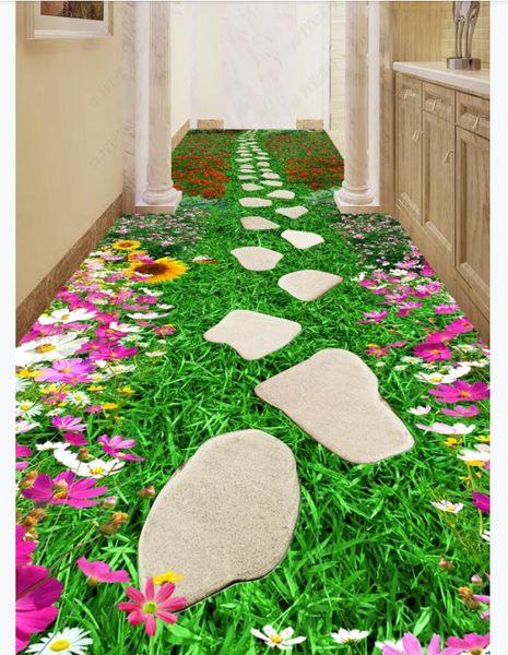 PVC Self-adhesive customized 3D floor painting wall paper Creative flower path bathroom corridor aisle 3D waterproof floor stickers