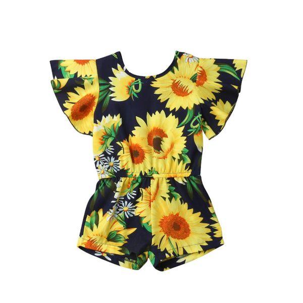US 2019 Toddler Kids Baby Girls Sunflower Long Romper Bodysuit Jumpsuit Outfits