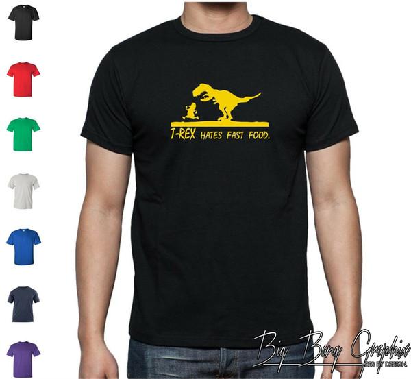 Engraçado Dinossauro T Shirt T-REX Odeio FAST FOOD DINO Lagarto Ciência Geek Piada Engraçado frete grátis Unisex camisa top Casual