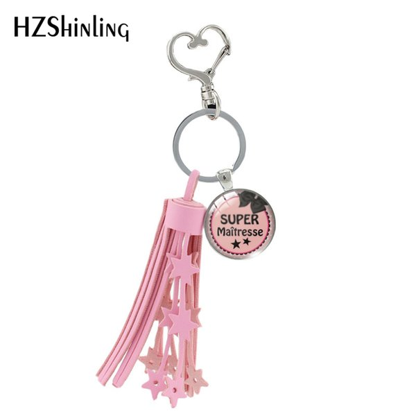 Мода Супер Maitresse сердце кисточкой Key Chain Handcraft Art Фото Merci Maitresse стекла кабошон Keyring Подарки для женщин