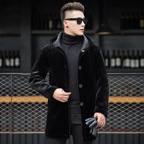 2019 Double-sided Wear Fur Trench Coat Men Casual Medium Long Hooded Winter Mens Coat Brand Clothing Plus Size 4XL