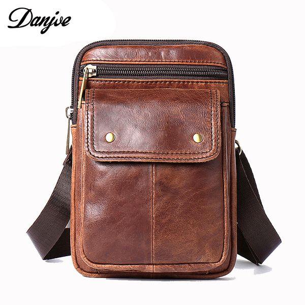 DANJUE Genuine Leather Waist Packs For Men Belt Bag Small Fanny Pack Phone Pouch Bags Travel Male Crossbody Bags Messenger Bag