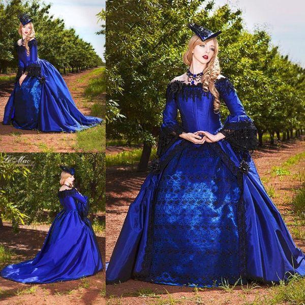 Vestido de fiesta gótico vintage Vestidos de novia Vestidos de novia victorianos de Halloween con mangas largas Fuera del hombro Vestido de novia corsé de talla grande