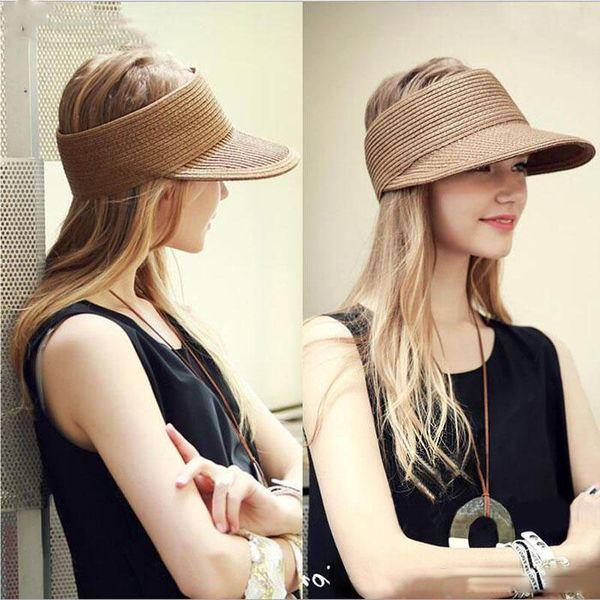 2019 Spring Summer New Big Wide Brim Straw Sun Visors hat Women/Gilr Fashion Beach Empty Top Caps 4 Solid Colors